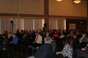 Audience on the UWM campus listening to officials discuss the budget. Photo by Jordyn Noennig.