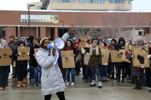 A student protest at noon Wednesday on the UWM campus. Photo by Zach Mathe.