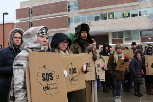 Students at the noon UWM protest. Photo by Zach Mathe.