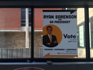 Ryan Sorenson's campaign posters hang around the UWM Union. Photo by Mary Jo Contino.