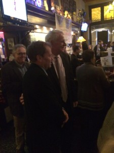 "Mayor Tom Barrett dropped by to ""meet the media."" Photo by Andrew Boldt."