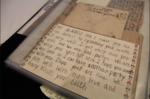 A letter Schafer wrote as a child. Photo by Sarah DeGeorge and Ellie Malone.
