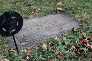 James Vielbaum's gravestone is located in Union cemetery in Hartford, WI. Photo by Brandon Hartman.