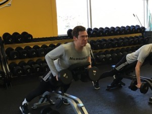 Caption Robert Ekroll, and the rest of the team, spend three hours a day training for the upcoming season,