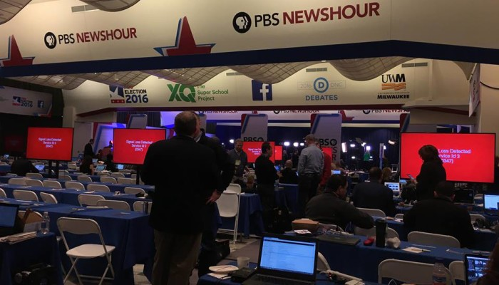 How the Debate Press Room Resembled a Future Robot Takeover