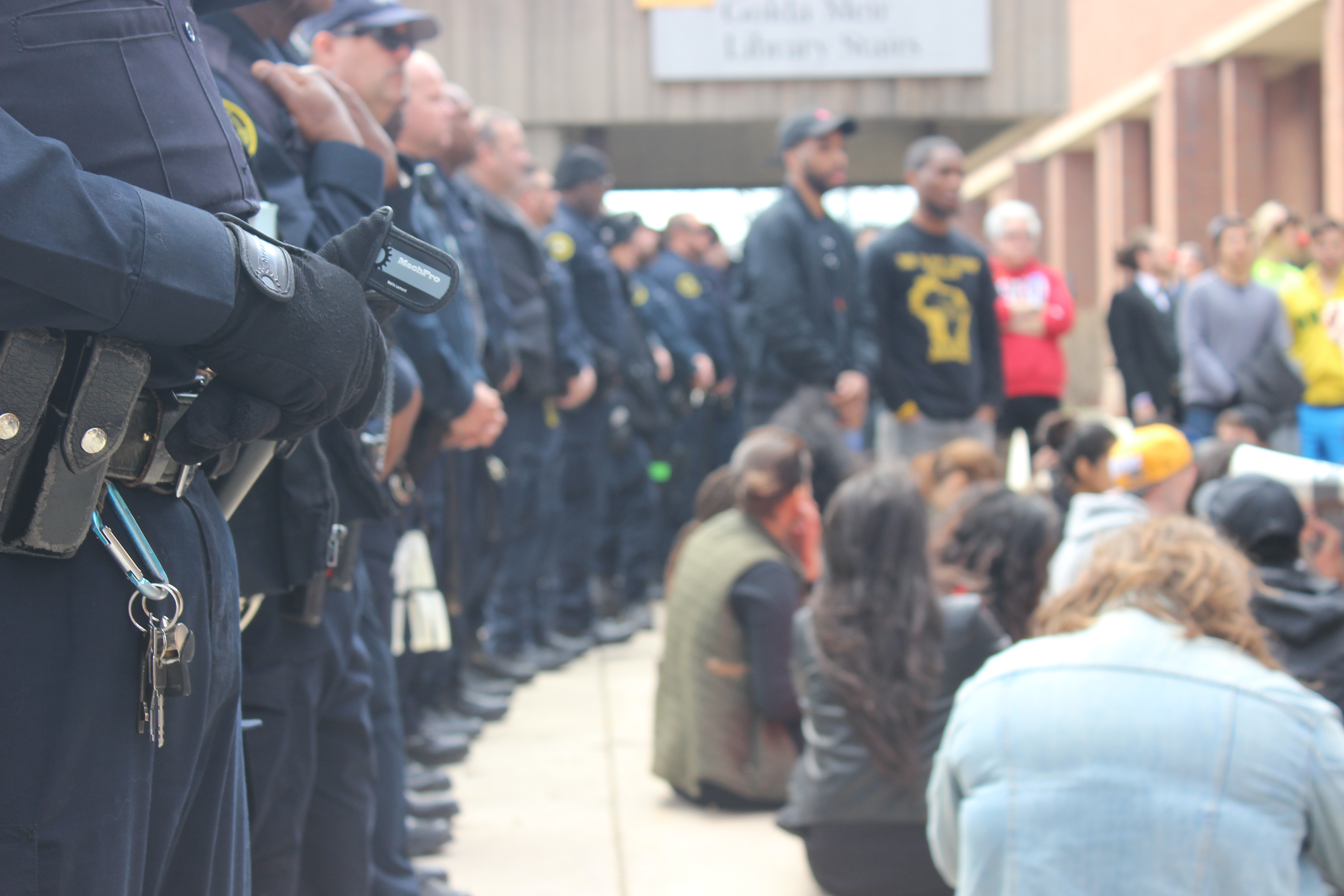 Police and protesters were in close quarters. Photo by Brandon Hartman.