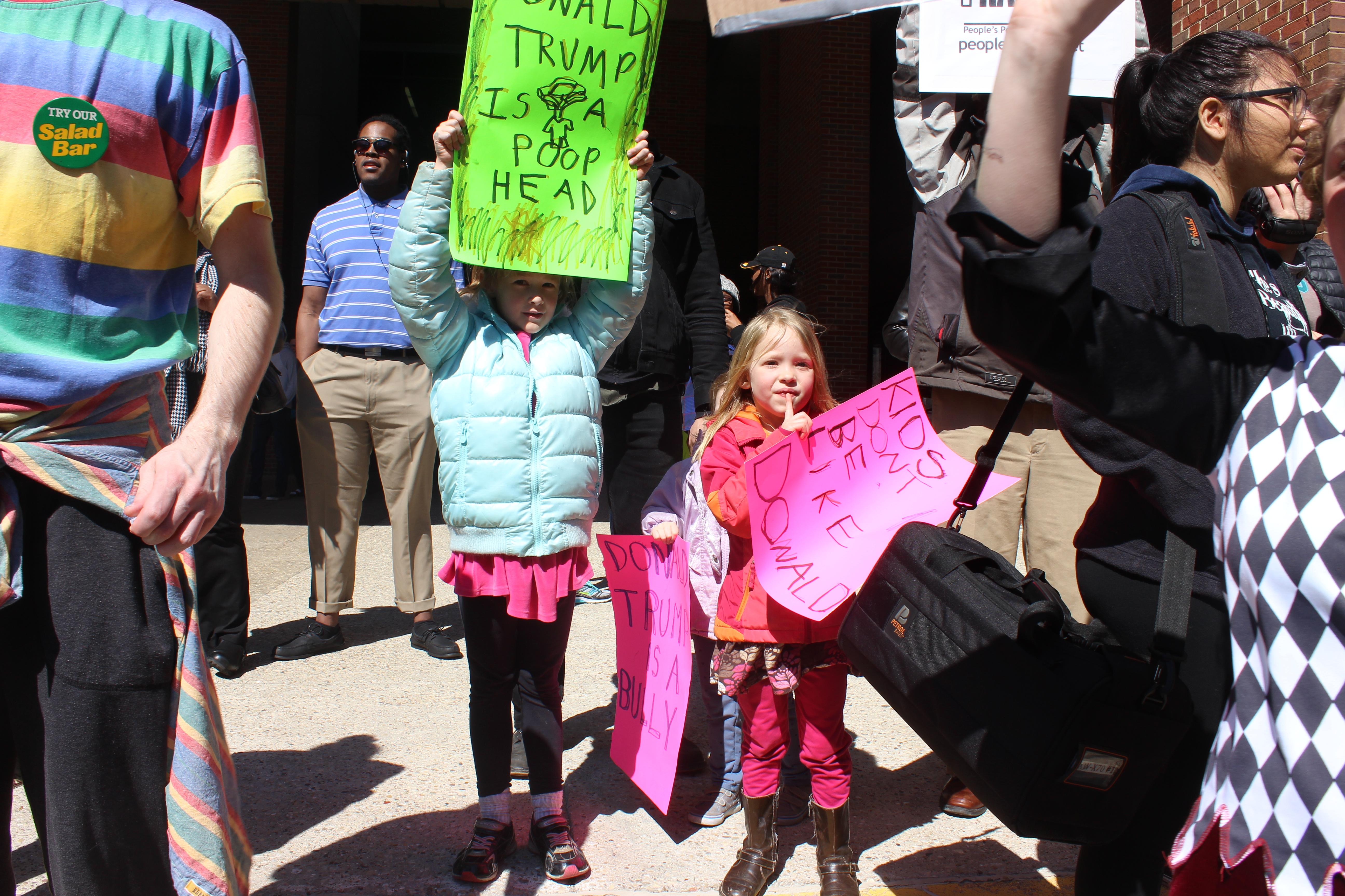 Children showed up to protest. Photo by Brandon Hartman.