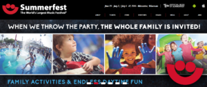 Screenshot of Summerfest home page shows the family focus.