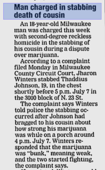 Part of a 2006 article in the Milwaukee Journal Sentinel on Winters' past homicide case.