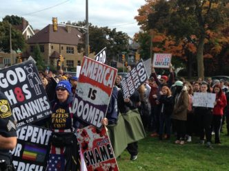 Peaceful Counter-Protesters Surround Westboro Baptist Church Demonstration at UWM