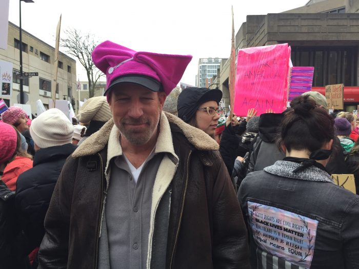 Jim Rivett at the Women's March on Madison. Photo: Keaton Walkowski